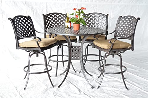 Nassau Bar Set 7 pcs and Chaise Lounges Set 3 pcs Dark Bronze Cast Aluminum Sunbrella Sesame