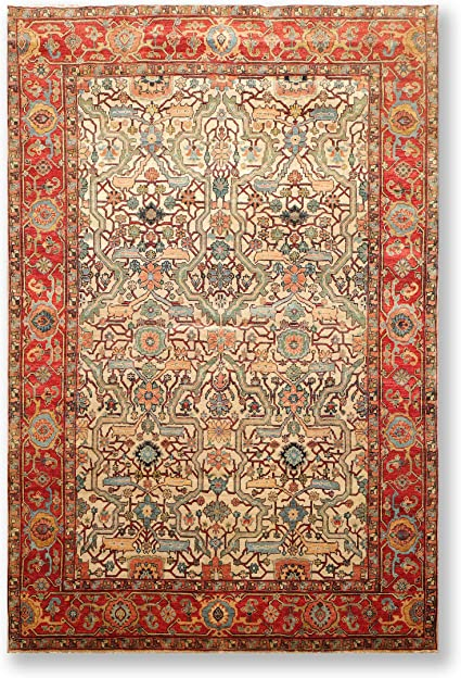 6 X9 Beige Rust Aqua Blue Navy Gold Multi Color Hand Knotted Persian Oriental Area Rug Wool Traditional Antique Style Heriz Design Oriental Rug Amazon Co Uk Kitchen Home