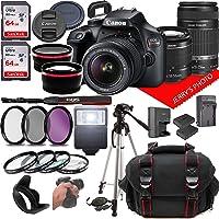 Canon EOS Rebel T100 DSLR Camera w/Canon EF-S 18-55mm F/3.5-5.6 + EF 55-250mm F/4-5.6 is Zoom Lenses + Case + 64GB…