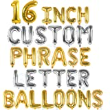 Silver & Gold Letter Balloons - Custom Balloon Letters For Birthday / Baby Shower - Personalized a Phrase/Word/Banner…
