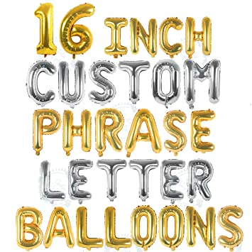 Baby Shower Letter Balloons.Silver Gold Letter Balloons Custom Balloon Letters For Birthday Baby Shower Personalized A Phrase Word Banner Name Balloons 16 Inch Alphabet