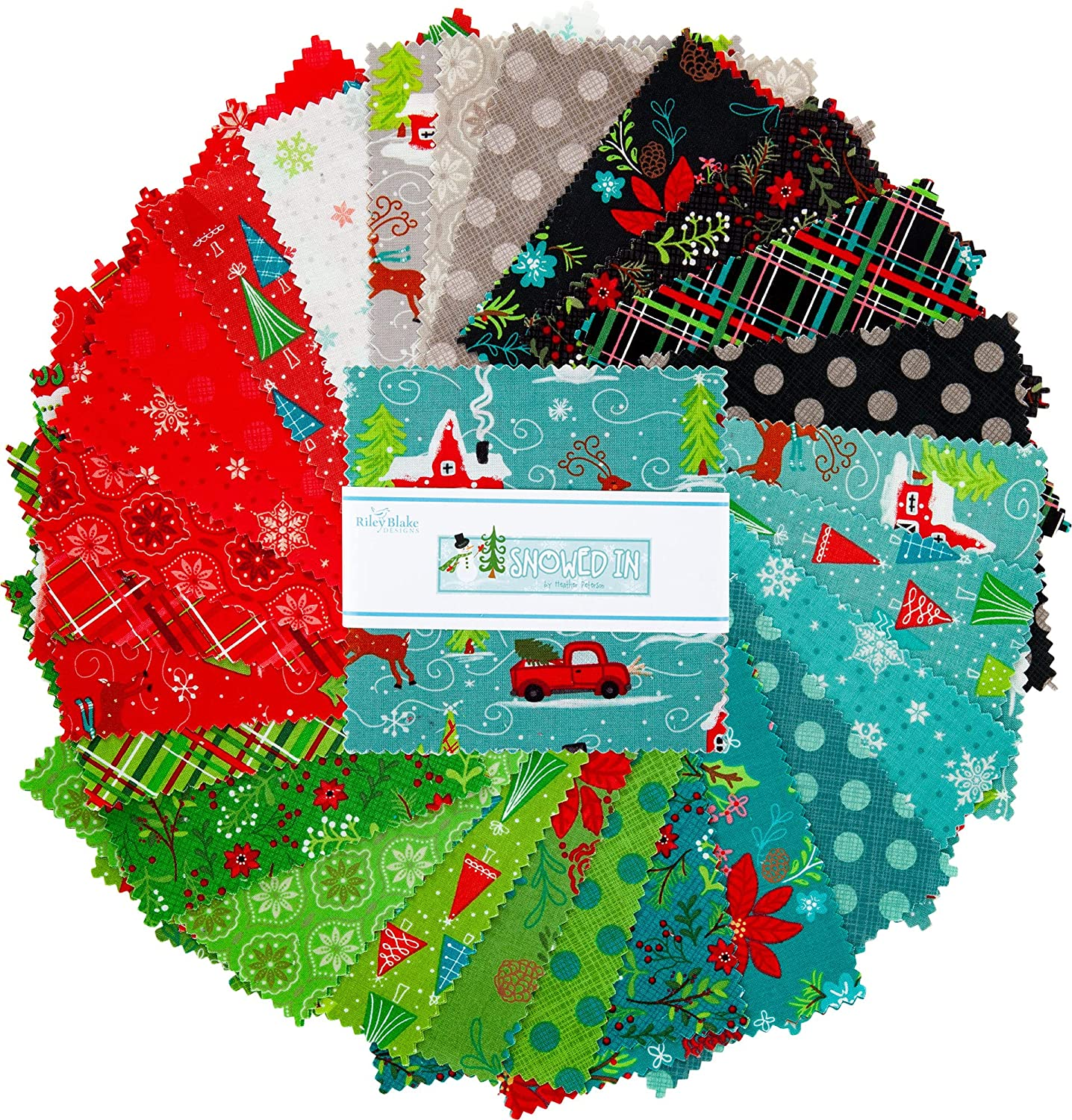 Pre-Cut Quilt Squares Snowed in Riley Blake 5-inch Stacker 42 ...