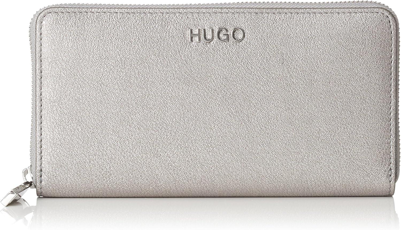 HUGO - Mayfair Ziparound-l, Carteras Mujer, Plateado (Silver), 1.5x10x19 cm (B x H T)