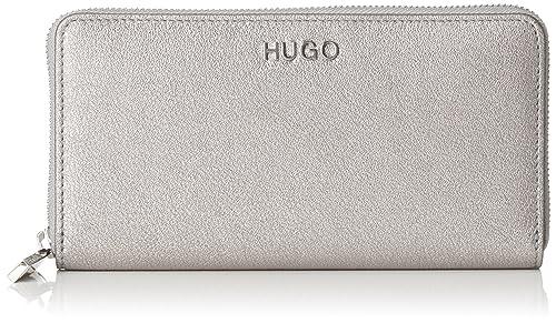 HUGO - Mayfair Ziparound-l, Carteras Mujer, Plateado (Silver), 1.5