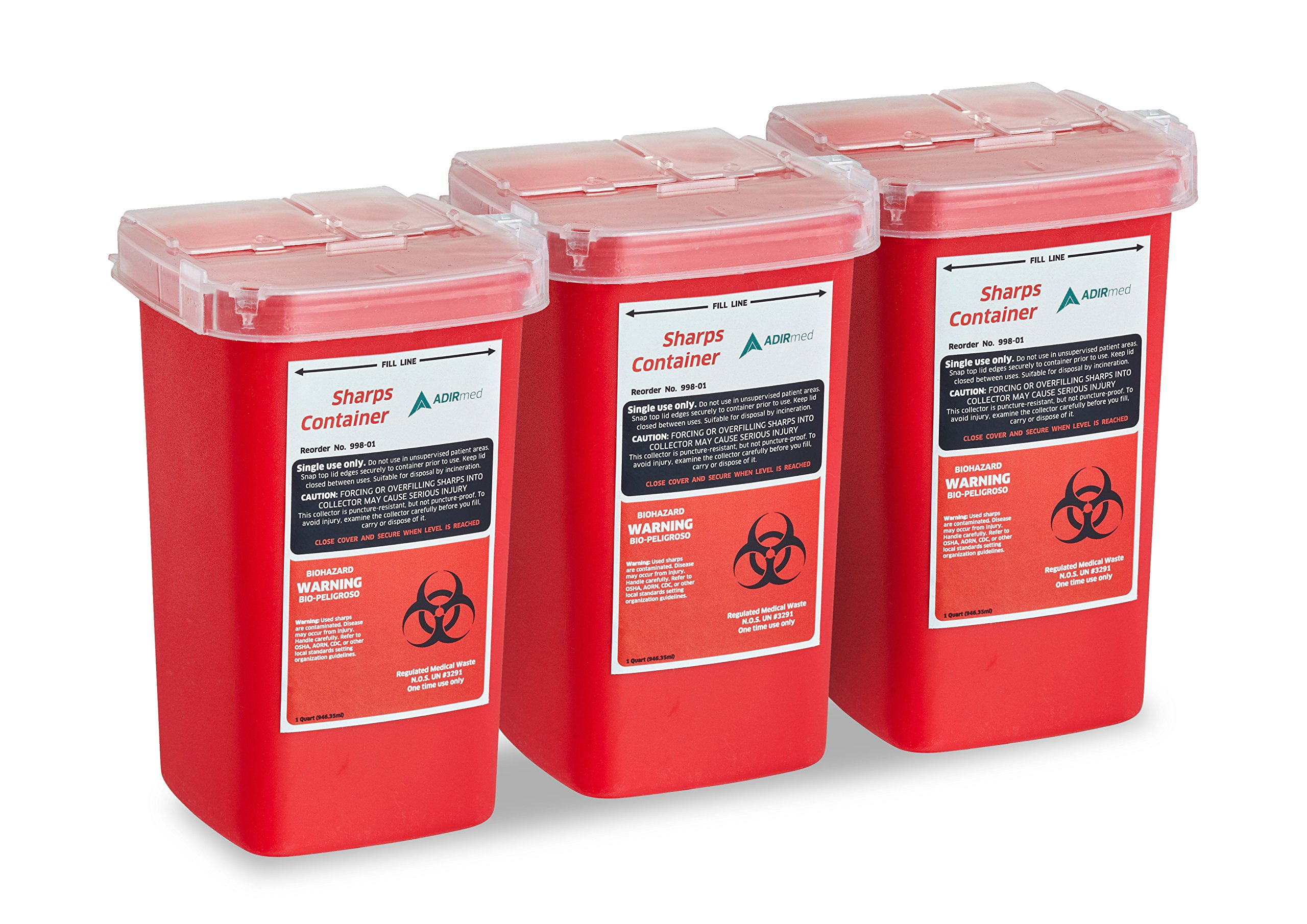 AdirMed Sharps & Needle Biohazard Disposal Container 1 Quart - 3 Pack