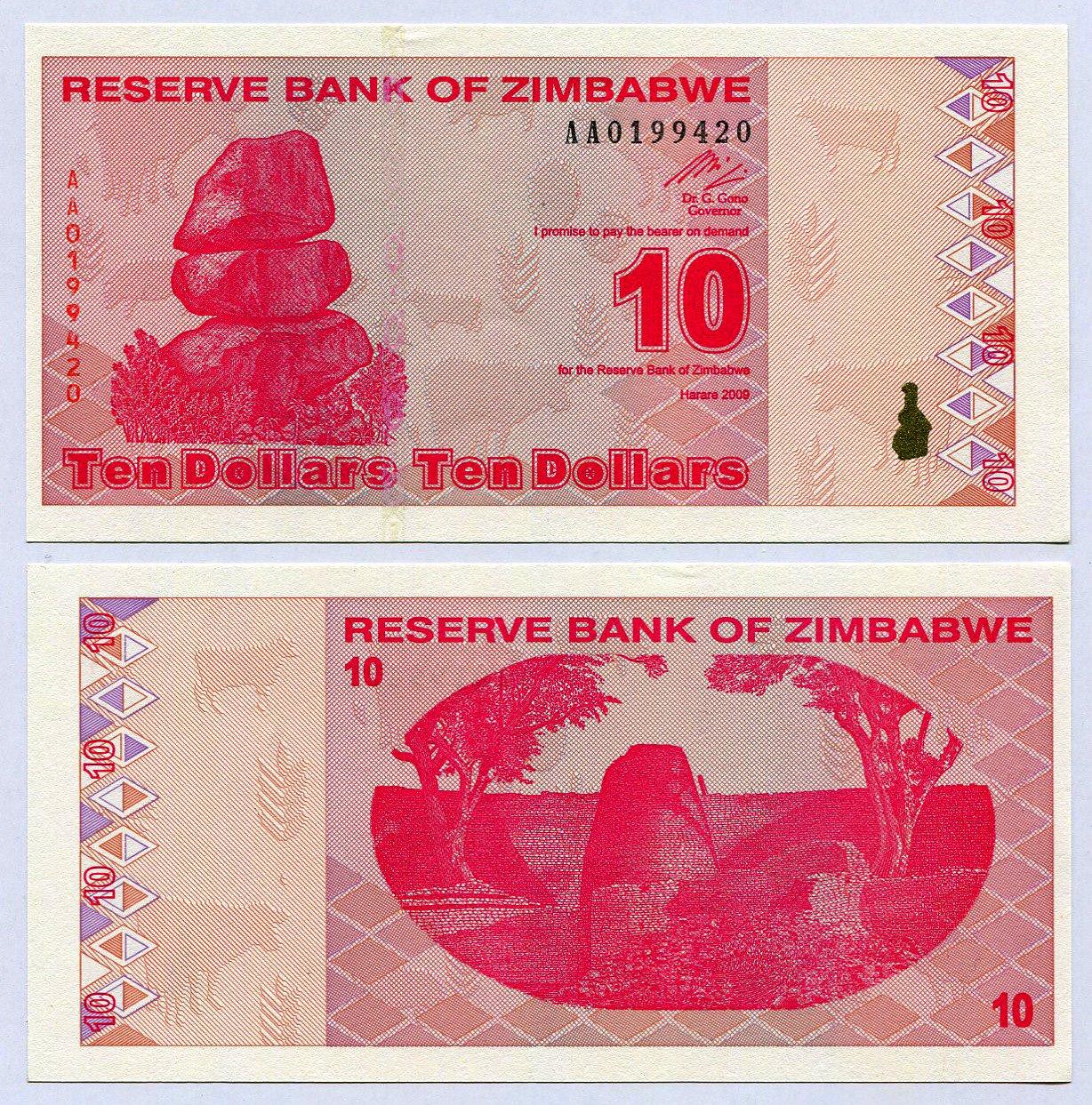 Zimbabwe 10Dólares 2009UNC, mundo inflación, moneda billetes de banco, P94 RBZ