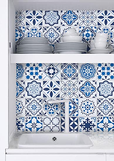 197 X 17 7 Blue Pattern Contact Paper Glossy Surface Waterproof Contact Paper Decorative Self Adhesive For Kitchen Bathroom Counters Removable Counter Paper Peel And Stick Wallpaper Easy To Clean Amazon Com