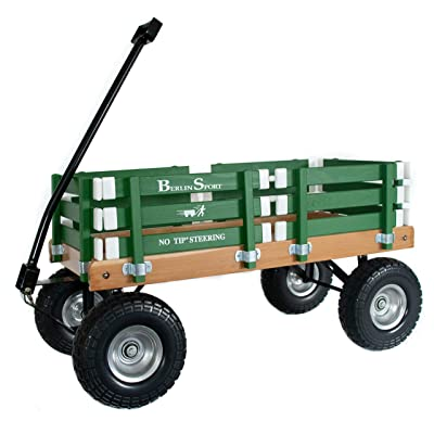 "Berlin Flyer Sport Wagon - Model F410 - Amish Made in Ohio, USA - 10"" No-Flat Tires (Emerald Green): Toys & Games"