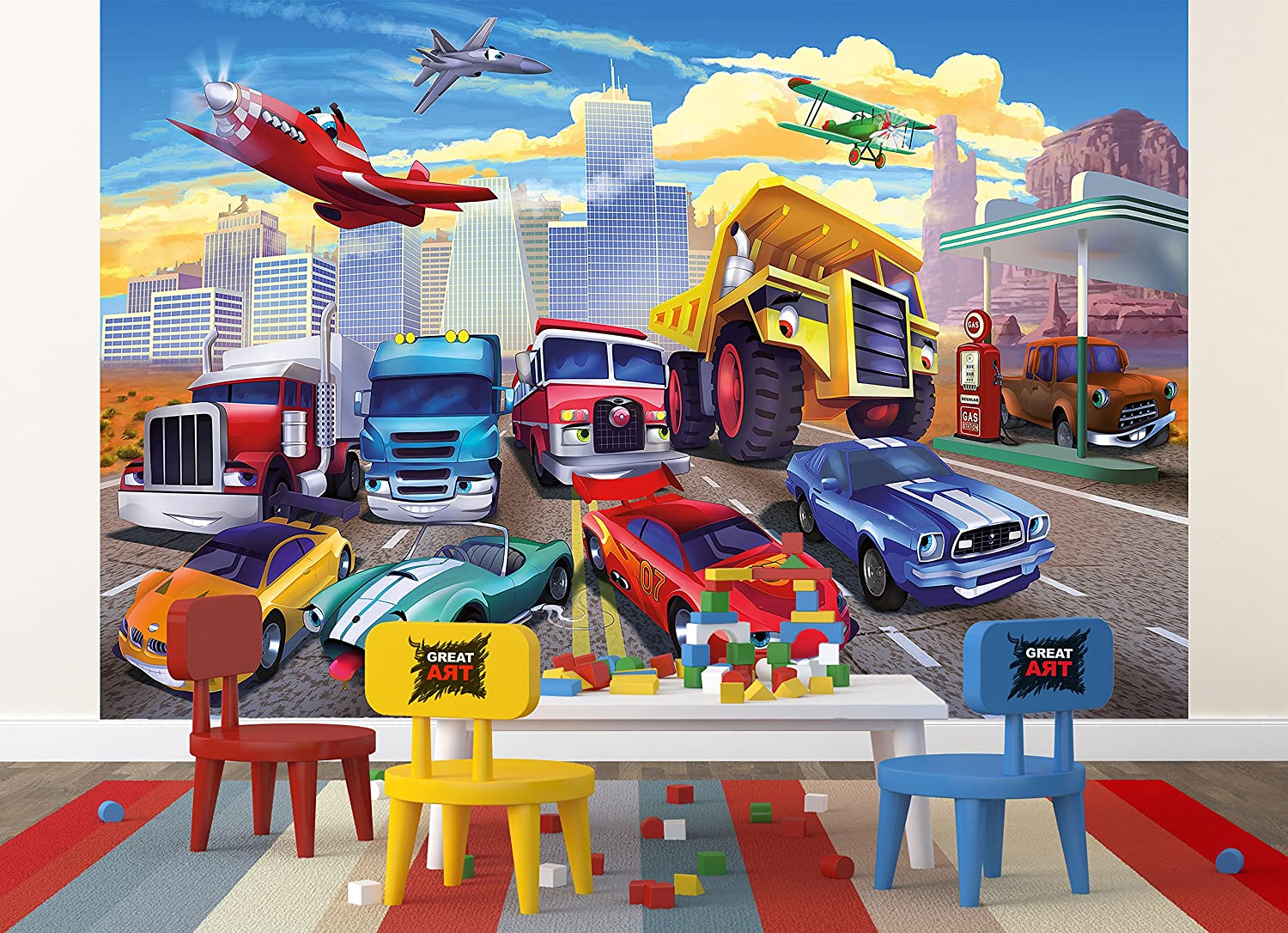 Wallpaper Children S Room Cars Planes Race Cars Decoration Cars