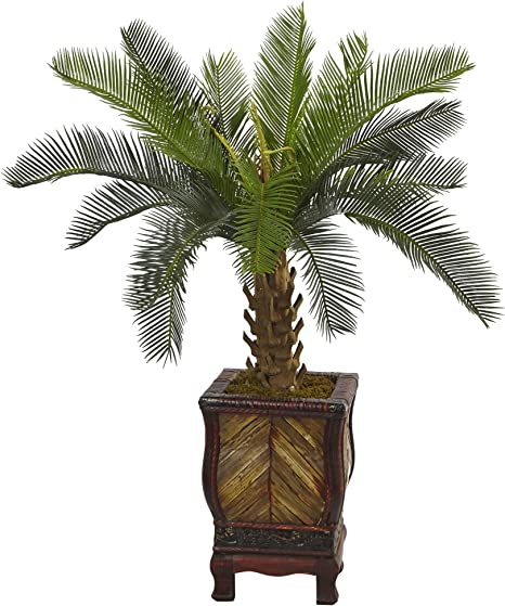 Amazon Com Nearly Natural 3 Cycas Artificial Tree In Wood Planter Green Home Kitchen