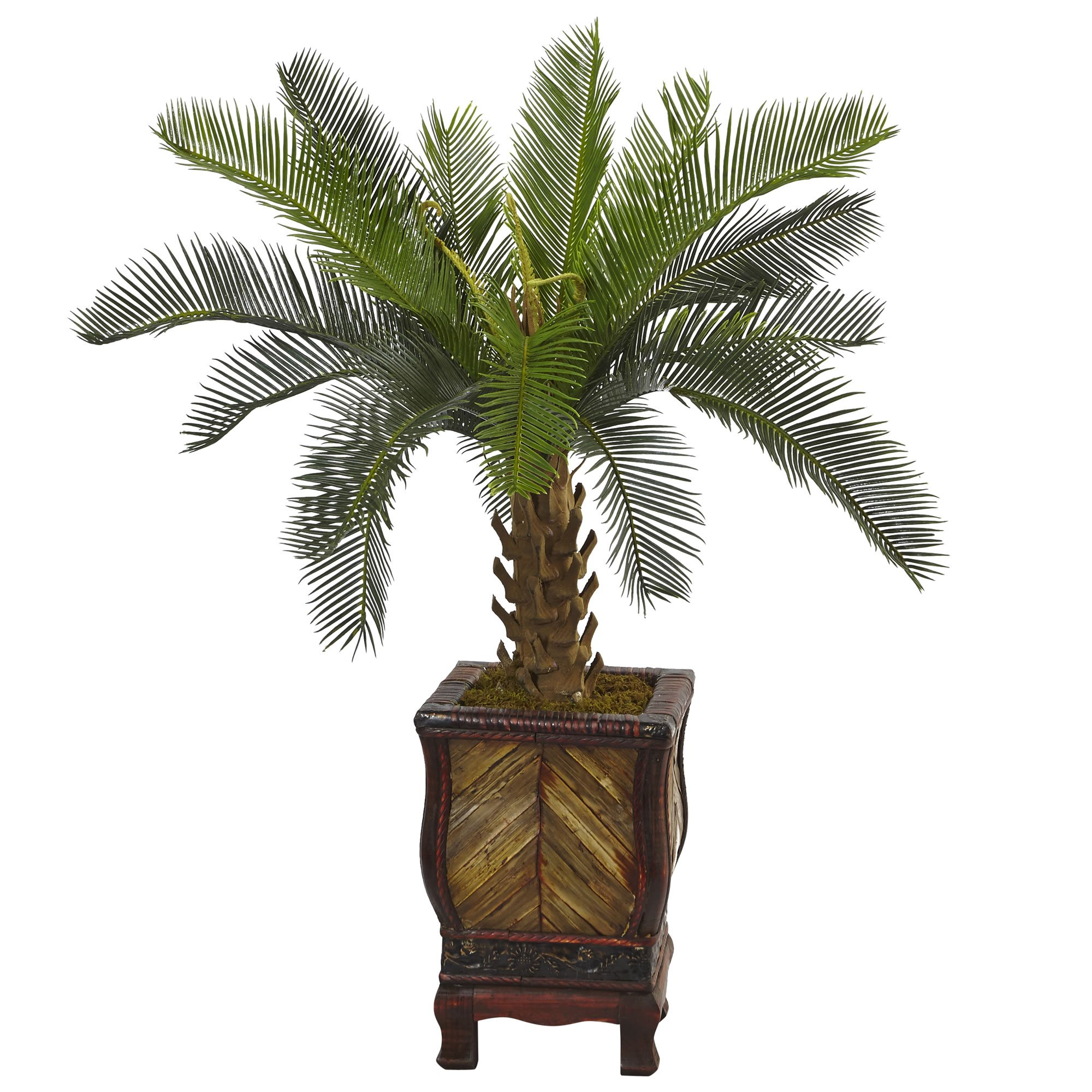 Nearly Natural 3' Cycas Artificial Tree in Wood Planter, Green
