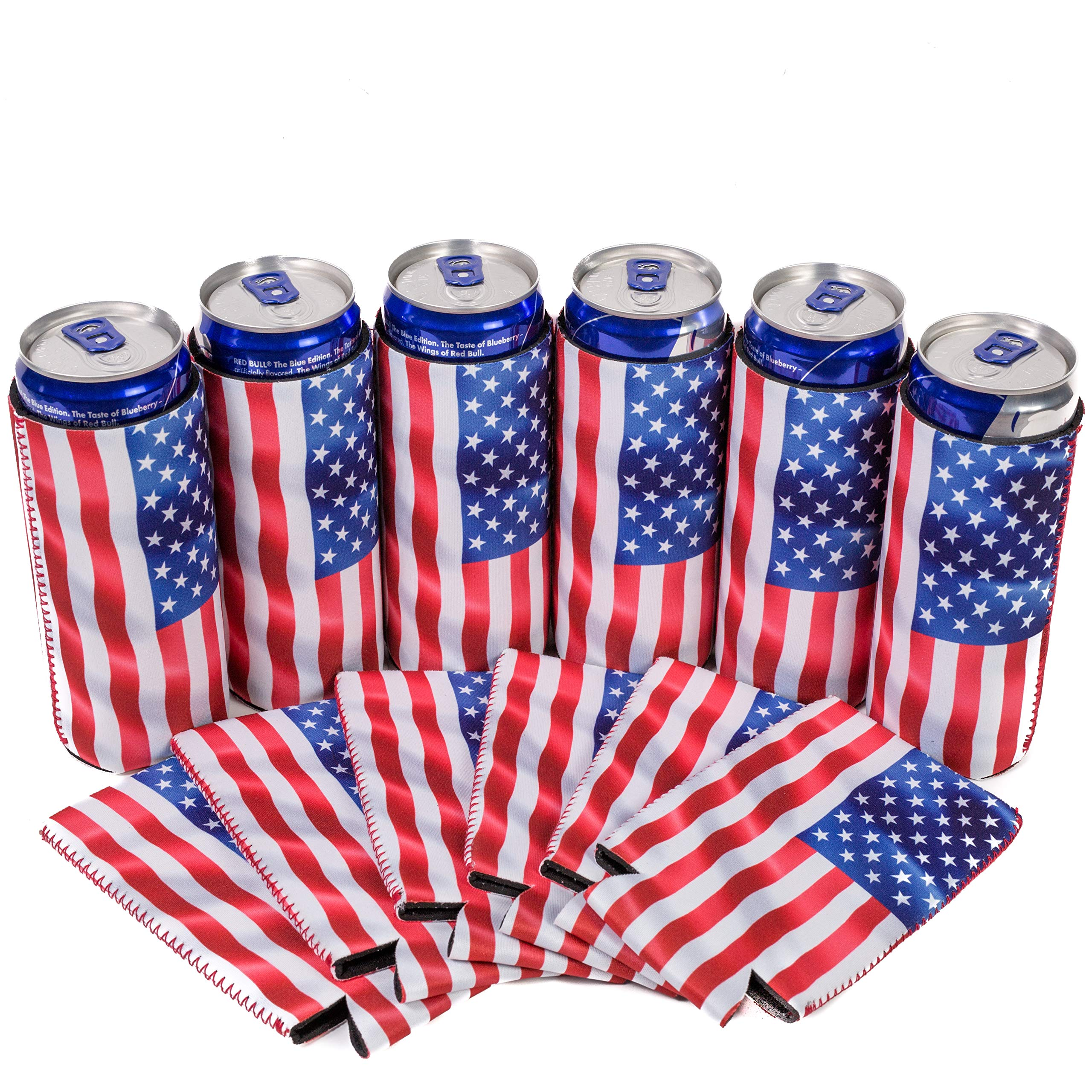 QualityPerfection 6 Slim American US Flag in The Wind - Neoprene Can Sleeves,Slim Beer Can Coolers,Energy Can Sleeves Great 4 Holidays,Sport/Business Events,Parties,Independence Day,BBQ,4th Of July