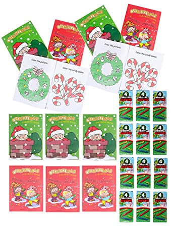 12 Sets Bulk Christmas Coloring Activity Books & Crayons Bundle for Kids