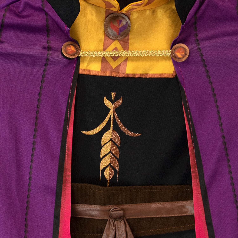 Disney Costumi Vestito con Treccia per Ragazze Il Regno di Ghiaccio Anna Multicolore 5-6 Anni