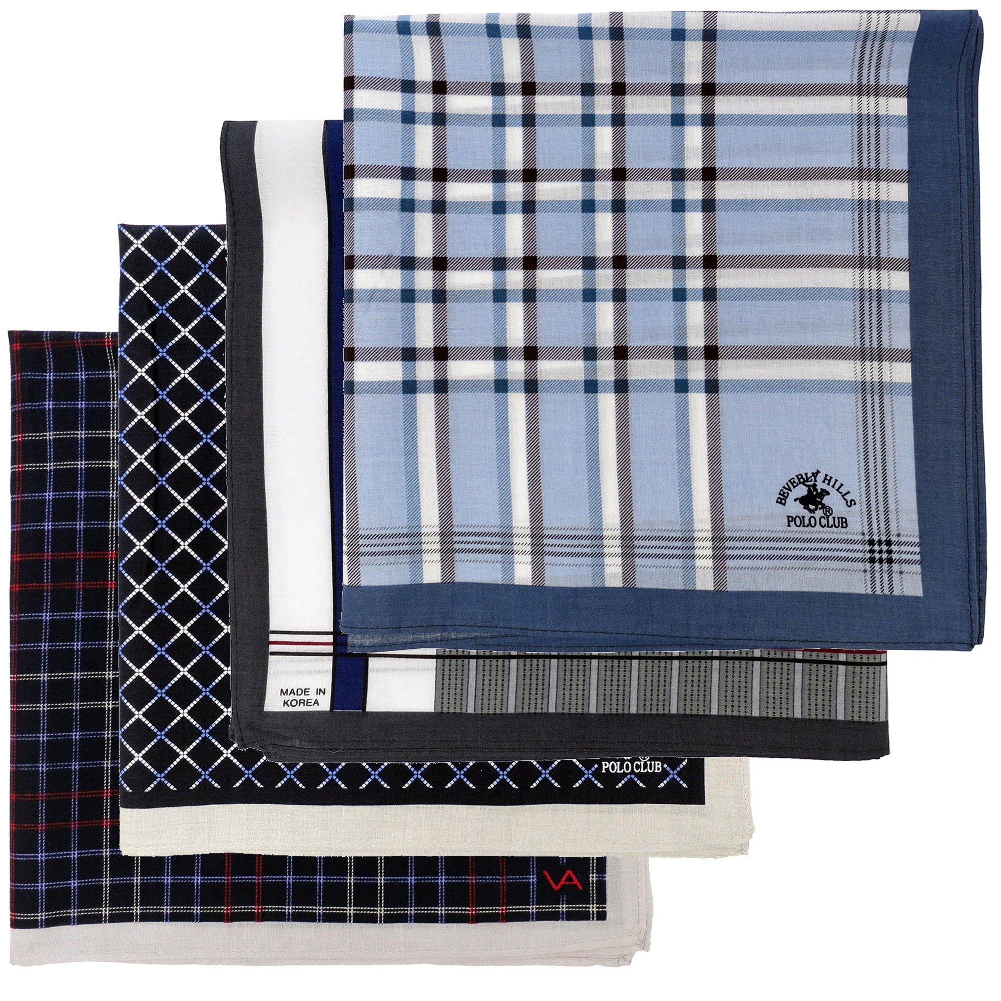 Leevo Handkerchief Men Assorted Woven Cotton 100% Hankies Fashion 4pack OPP Set Assorted (17.5inch No.5~8 Assorted 4pack OPP set)