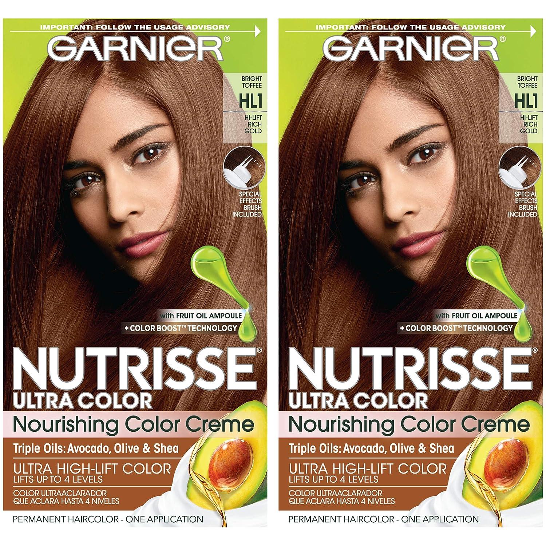 Garnier Nutrisse Ultra Color Nourishing Permanent Hair Color Cream, HL1  Rich Toffee (2 Count) Brown Hair Dye