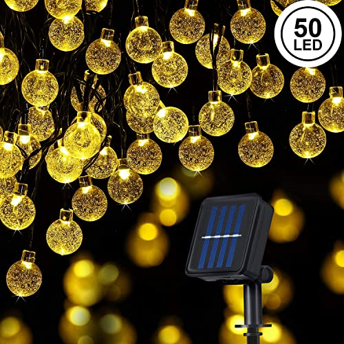 Globe Solar String Lights 50 LED 23 Ft Waterproof Outdoor Indoor Crystal Balls Fairy Lights with 8 Modes for Home Garden Patio Yard Wedding Christmas Decoration Warm White