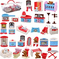 Beverly Hills Doll Collection Dollhouse Accessories Furniture and Accessory Set, All in one Bedroom, Kitchen, Laundry Room, and Bathroom 46 Piece Mega Set with Container