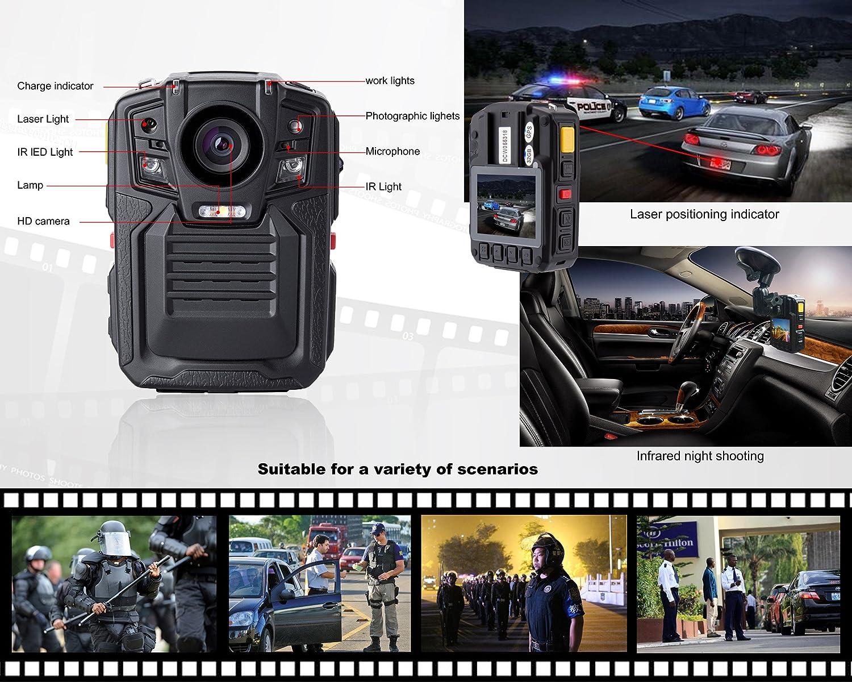 Angin-Tech Cam102 Visión Nocturna Infrarroja 1080P HD Cuerpo Policía Worn Cámara Vídeo Seguridad IR CAM Construido Tarjeta GPS Ayuda Detección Movimiento + ...