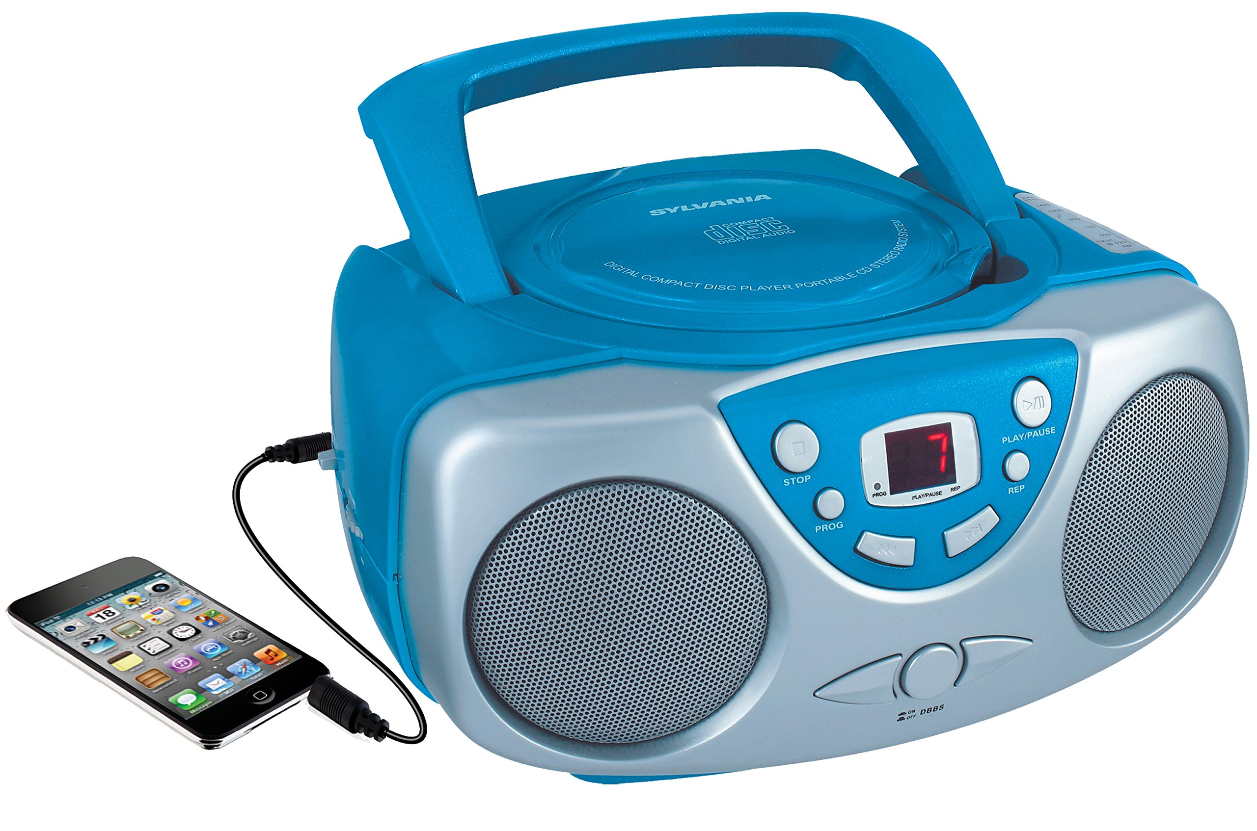 Sylvania SRCD243 Portable CD Player with AM/FM Radio, Boombox (Blue) by Curtis (Image #1)
