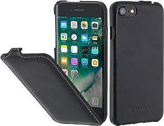 StilGut UltraSlim, Housse pour iPhone 8 & iPhone 7 en Cuir. Etui de Protection à Ouverture Verticale et Fermeture clipsée en Cuir véritable pour iPhone 8 & iPhone 7 (4,7 Pouces), Noir Nappa