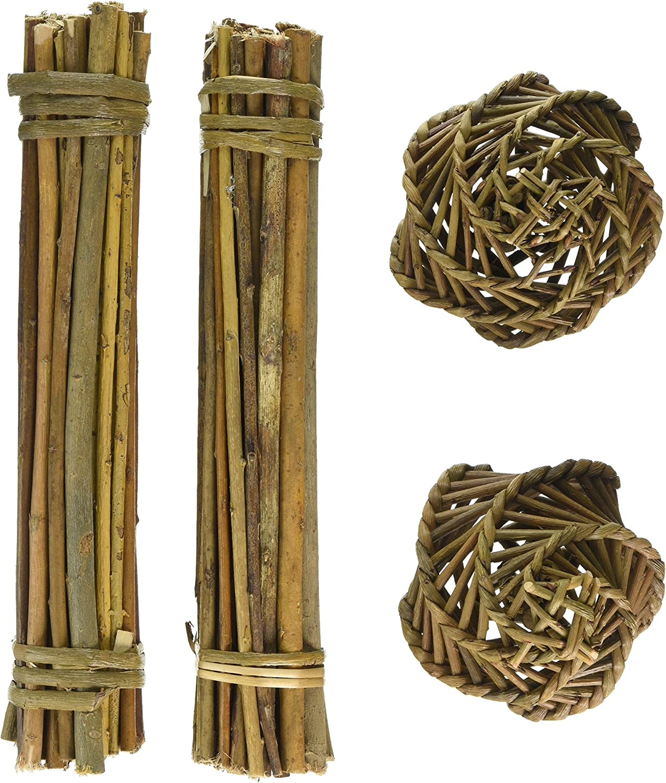happypet Nature First Willow Value Pack – 2 fardos de palitos y 2 Pelotas de Sauce para roer, Aptos para Animales pequeños