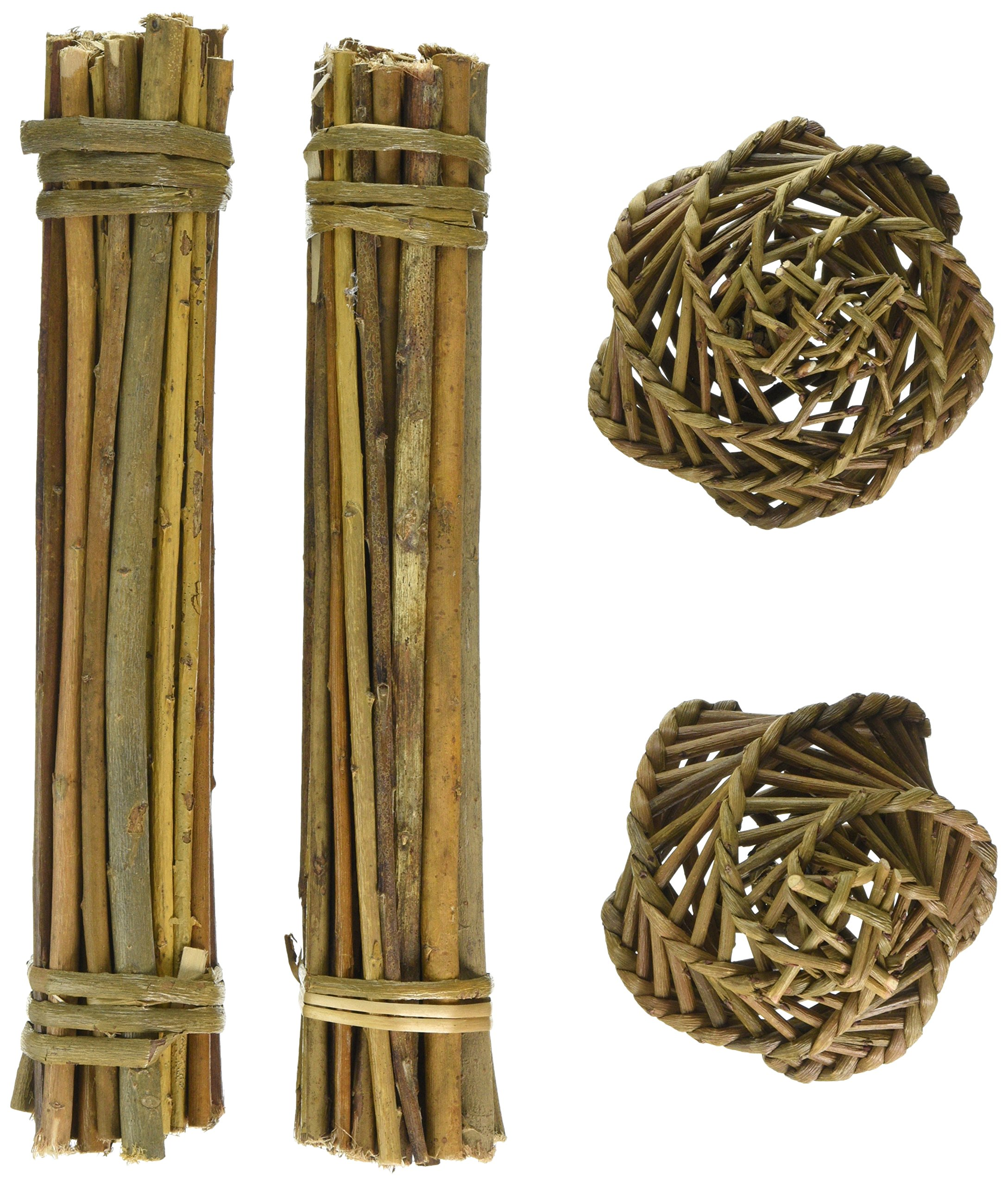 Happypet® Nature First Willow Value Pack - 2 Willow Sticks & 2 Willow Balls - Suitable for Small Animals