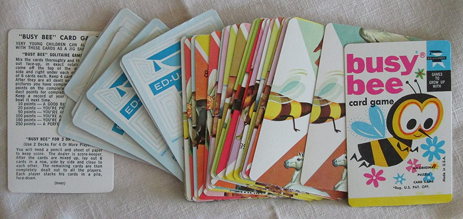Amazon.com : VINTAGE BUSY BEE CARD GAME - AN ORIGINAL PUZZLE CARD ...