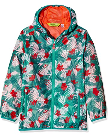 7fa0f9169f Regatta Children's Printed Lever Waterproof and Breathable Lightweight  Hooded Pack Away Jacket