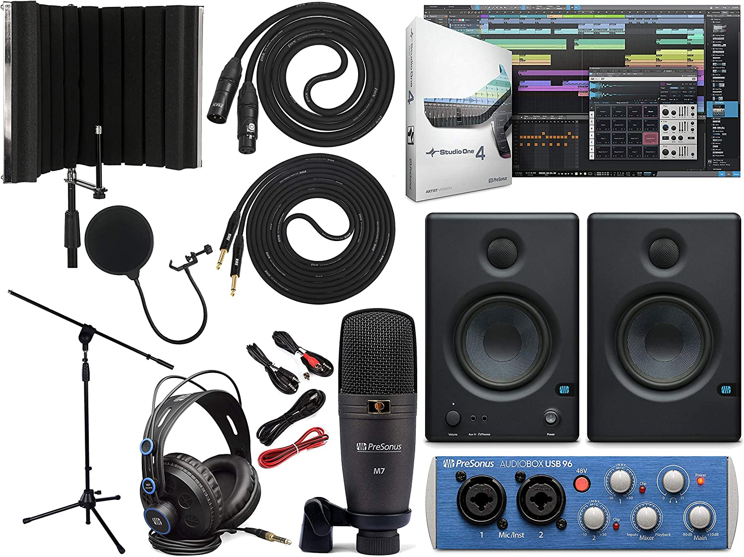 Presonus AudioBox 96 Audio Interface (May Vary Blue or Black) Full Studio Bundle with Studio One Artist Software Pack with Eris 4.5 Pair Studio Monitors, Instrument Cable, Microphone Isolation Shield