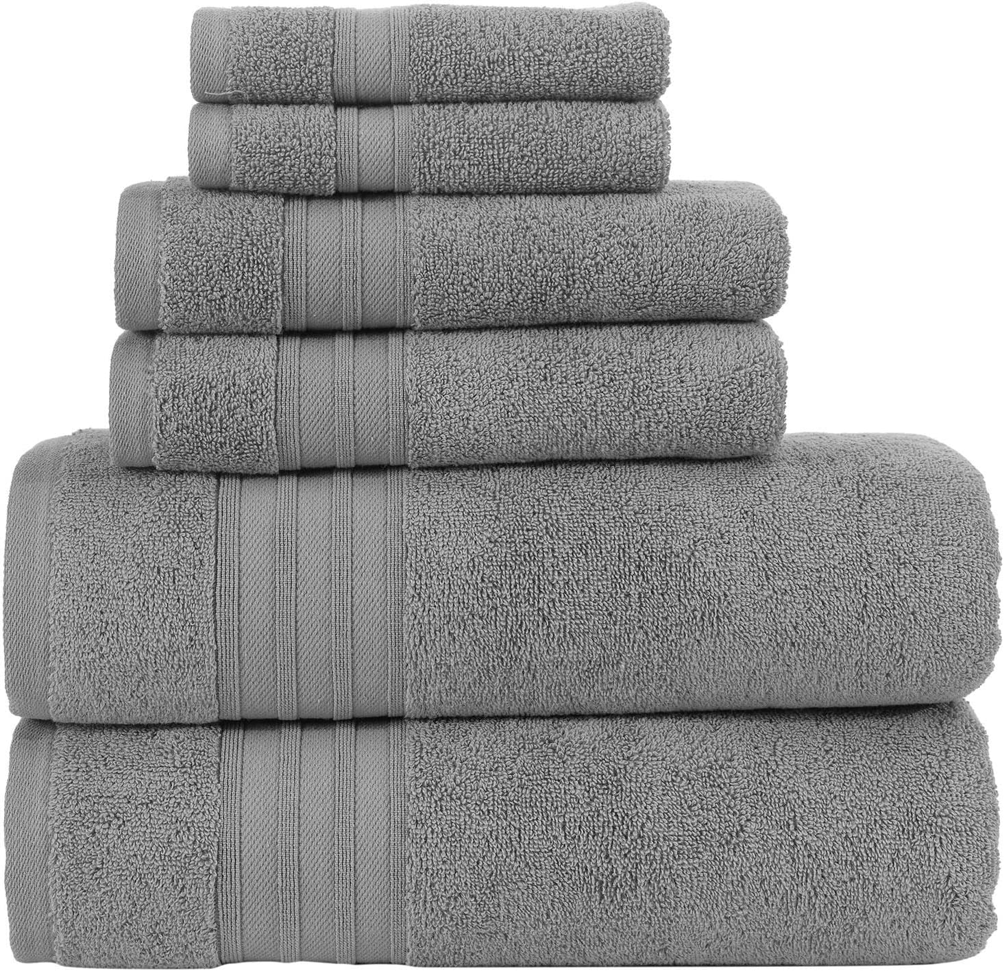 Hammam Linen 100% Cotton 6 Piece Towel Set, Cool Grey Super Soft, Fluffy, and Absorbent, Premium Quality Perfect for Daily Use (2 x Bath Towels, 2 x Hand Towels, 2 x Washcloths): Kitchen & Dining