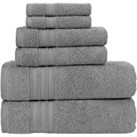 Hammam Linen 100% Cotton 6 Piece Towel Set, Cool Grey Super Soft, Fluffy, and Absorbent, Premium Quality Perfect for Daily Use (2 x Bath Towels, 2 x Hand Towels, 2 x Washcloths)
