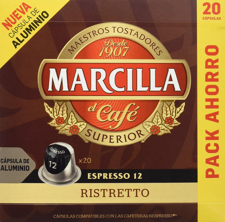 MARCILLA Café Espresso Ristretto Intensidad 12 - 20 Cápsulas de ...