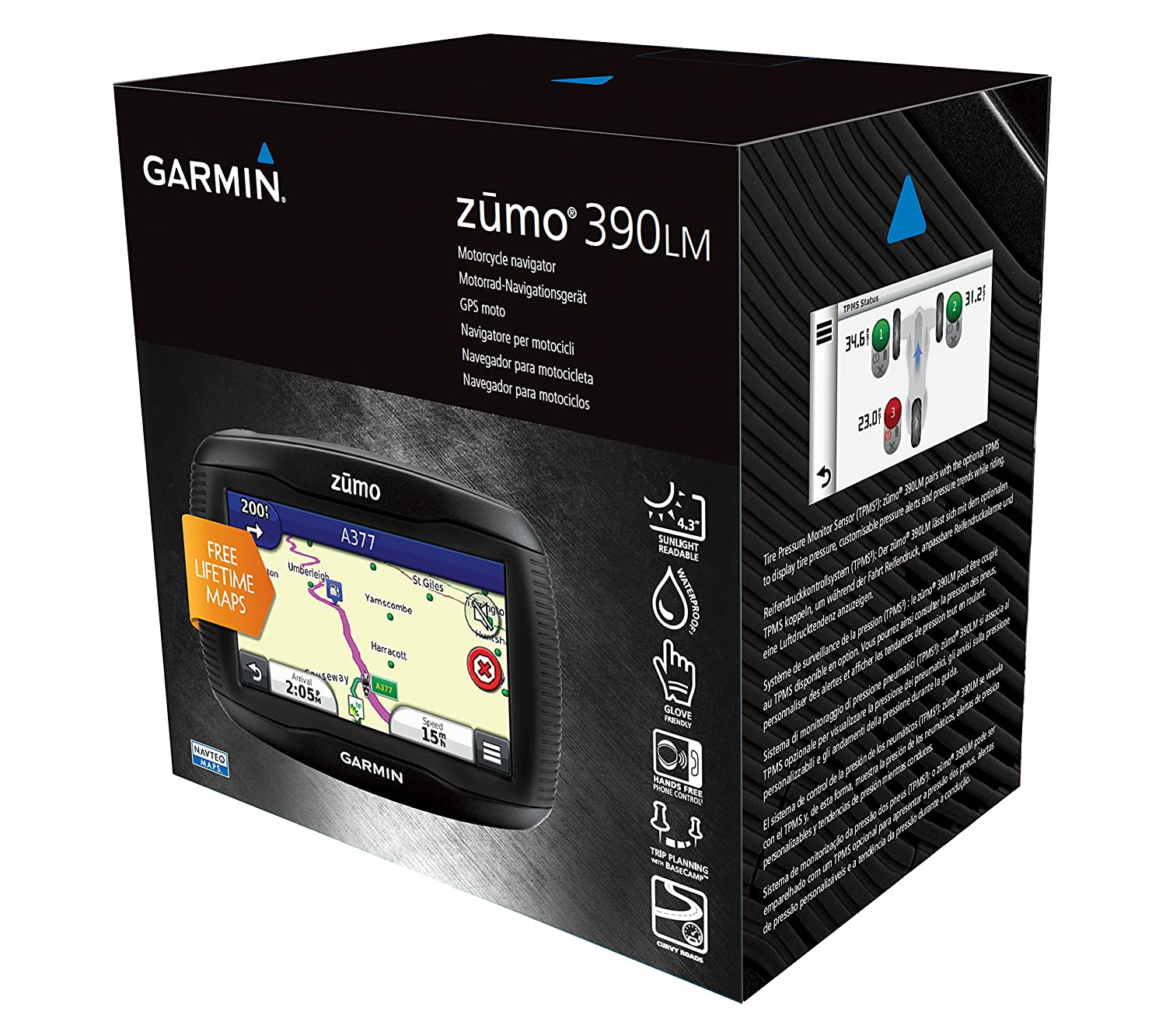 Free Lifetime Map Updates and Bluetooth Garmin ZUMO 590LM 5 inch Motorbike Satellite Navigation with UK and Full Europe Maps