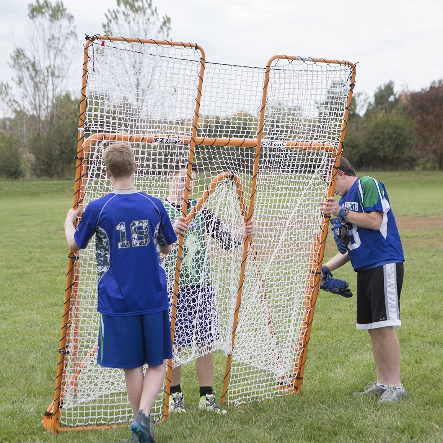 amazon com ezgoal monster lacrosse backstop rebounder 11 u0027 x 8