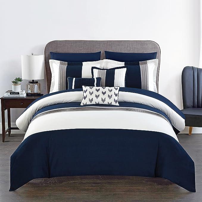 Chic Home Ayelet 10 Piece Comforter Set Color Block Ruffled Bag Bedding Queen Navy Home Kitchen Amazon Com