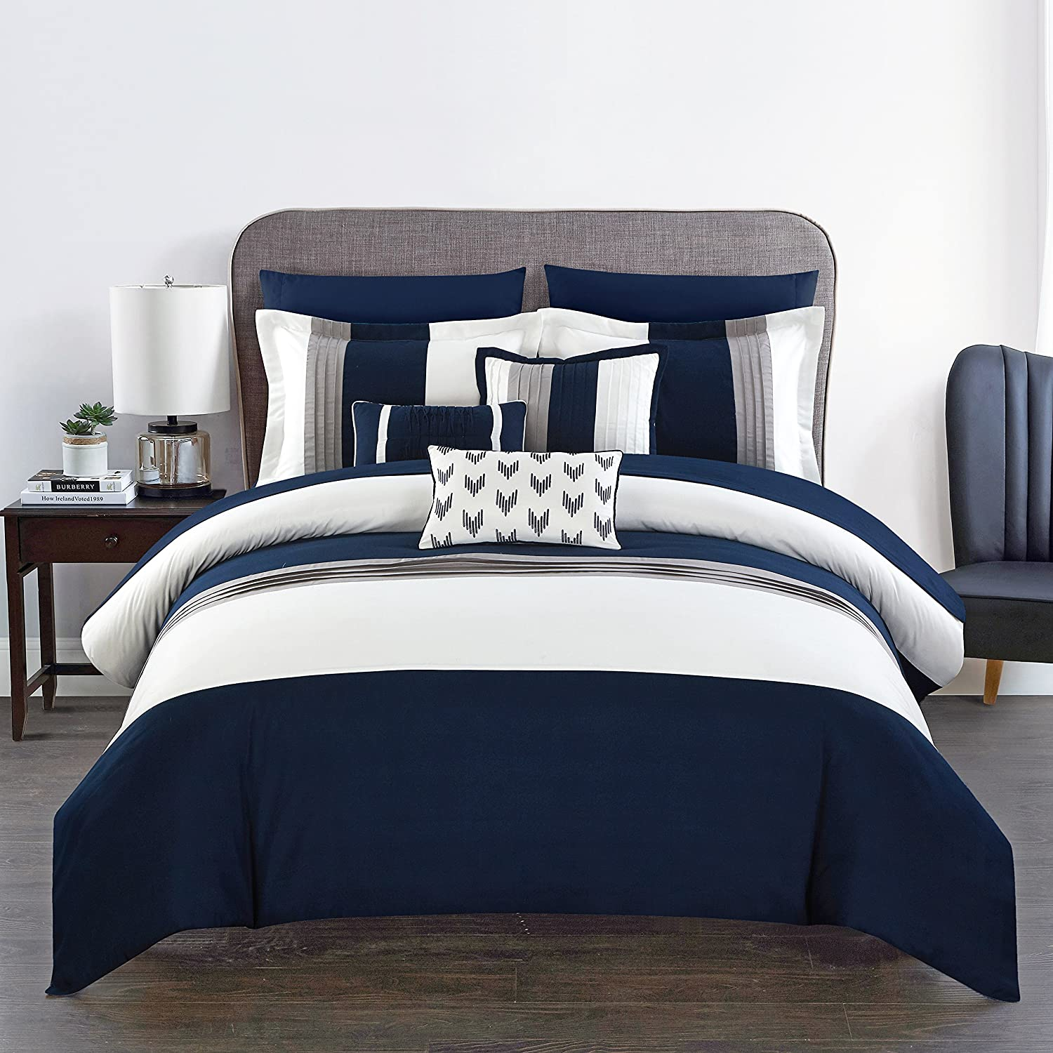 Amazon com chic home ayelet 10 piece comforter set color block ruffled bag bedding queen navy home kitchen