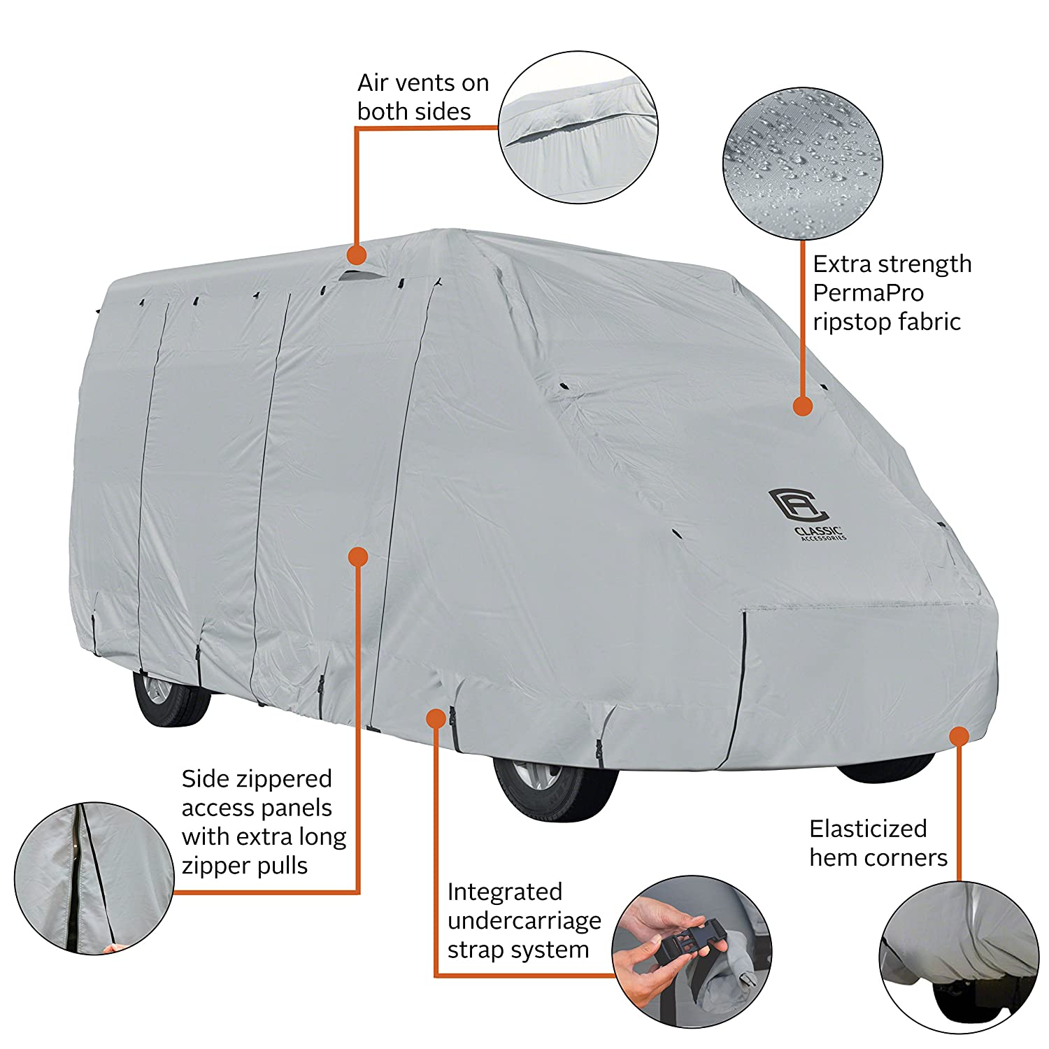 Classic Accessories OverDrive PermaPRO Deluxe Class B RV Cover, Fits up to 20' RVs - Lightweight Ripstop Fabric with RV Cover (80-411-141001-RT) Fits up to 20' RVs - Lightweight Ripstop Fabric with RV Cover (80-411-141001-RT) 80-414-171001-RT