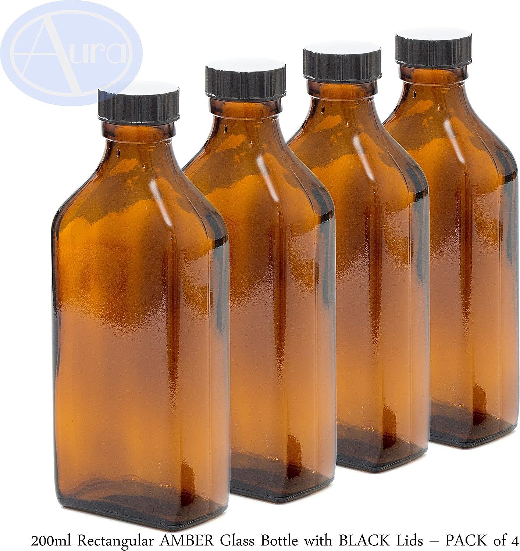 Botella rectangular de cristal de ámbar de 200 ml con tapa negra – Paquete de 4