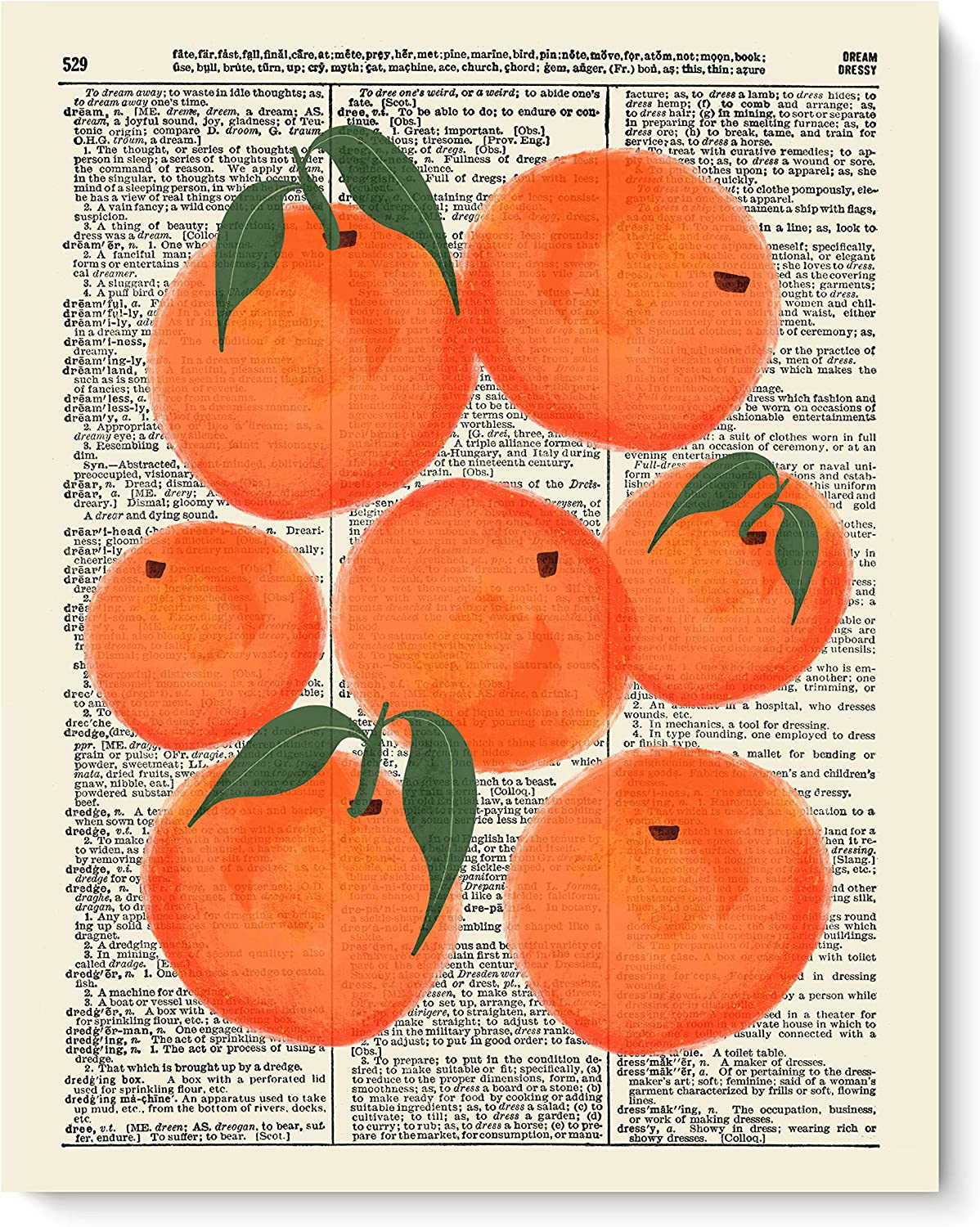 VintBo Oranges, Fruit Decor, Vintage Dictionary Art Print, Modern Contemporary Wall Art for Kitchen and Home Decor, Boho Art Print Poster, Country Farmhouse Wall Decor 8x10 Inches, Unframed