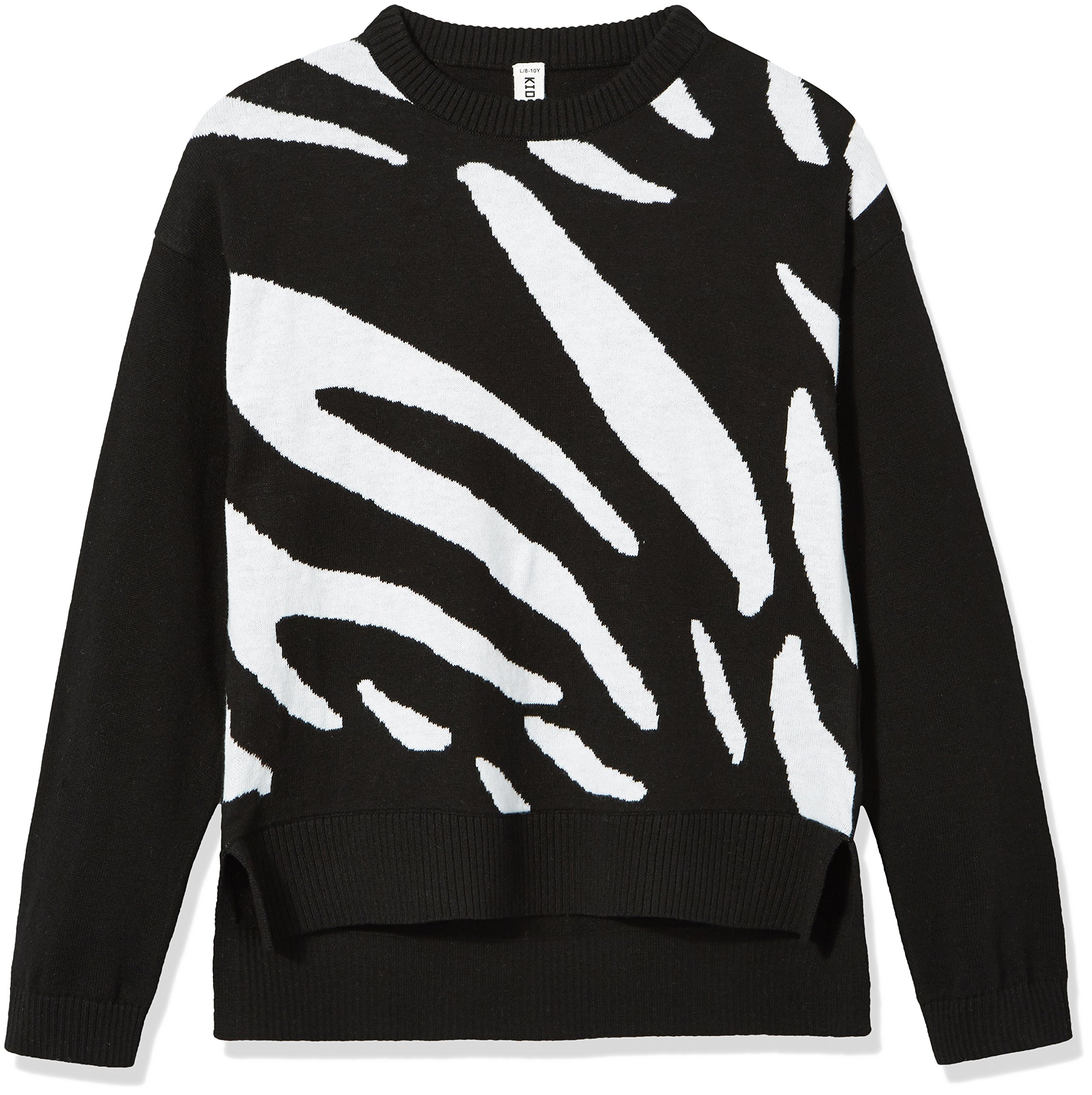 Kid Nation Girls' Long Sleeve Pullover Sweater L Black