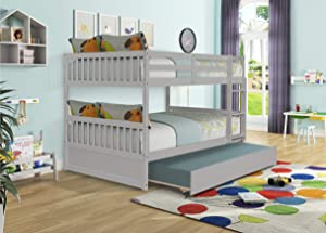 Full Over Full Bunk Bed with Trundle, Pine Wood Bunk Beds Full Over Full with Guardrail & Ladder, Can be Separated into 2 Full Bed Frame, Bunk Bed for Kids Girls Teens Adults (Full, Grey)