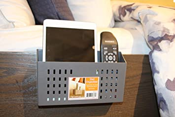 Bedside Storage Caddy Organizer for Remotes,Cell Phones, Glasses(Gray)