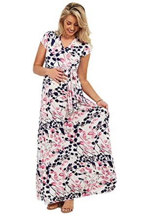 c8b23f888d3 PinkBlush Maternity White Floral Wrap Maternity Nursing Maxi Dress ...