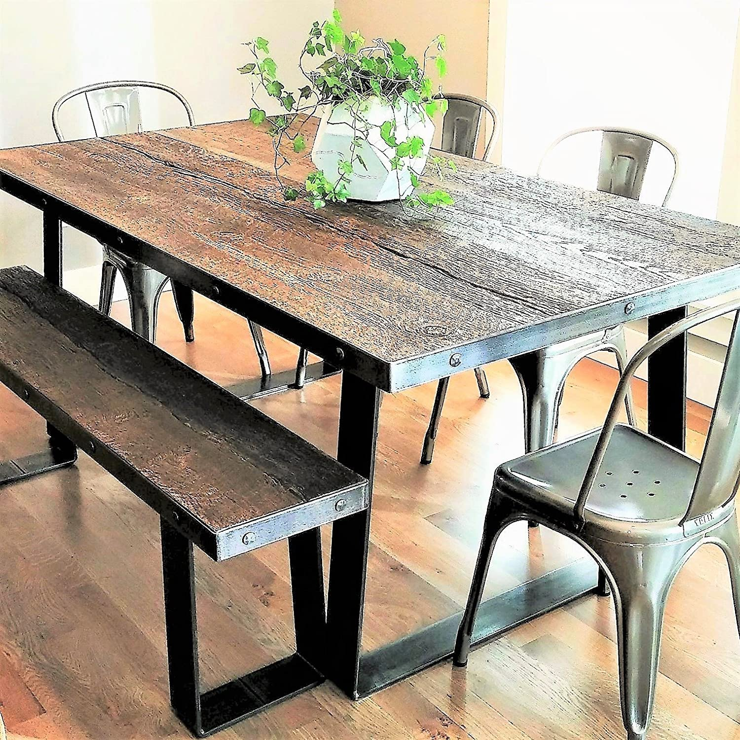 Awe Inspiring Amazon Com Cement Faux Wood 6 Foot Dining Table Bronze Caraccident5 Cool Chair Designs And Ideas Caraccident5Info