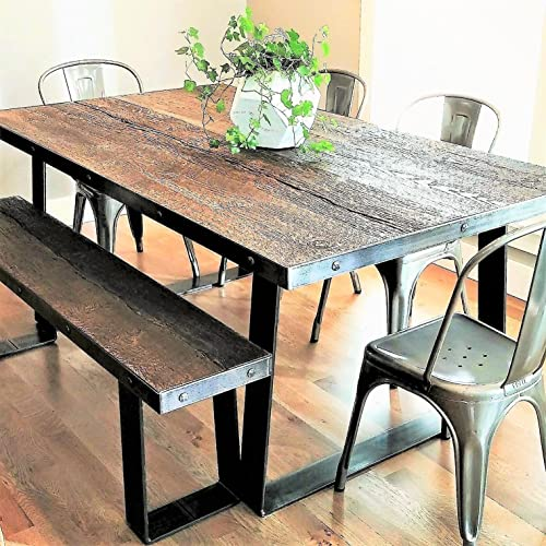 Amazoncom Cement Faux Wood 6 Foot Dining Table Bronze Timber