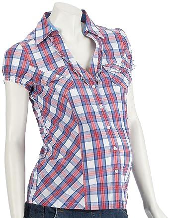 ESPRIT Maternity Blouse short sleeves check A85305 Damen Blusen, Gr. 34 (XS) d84cf5fcf5