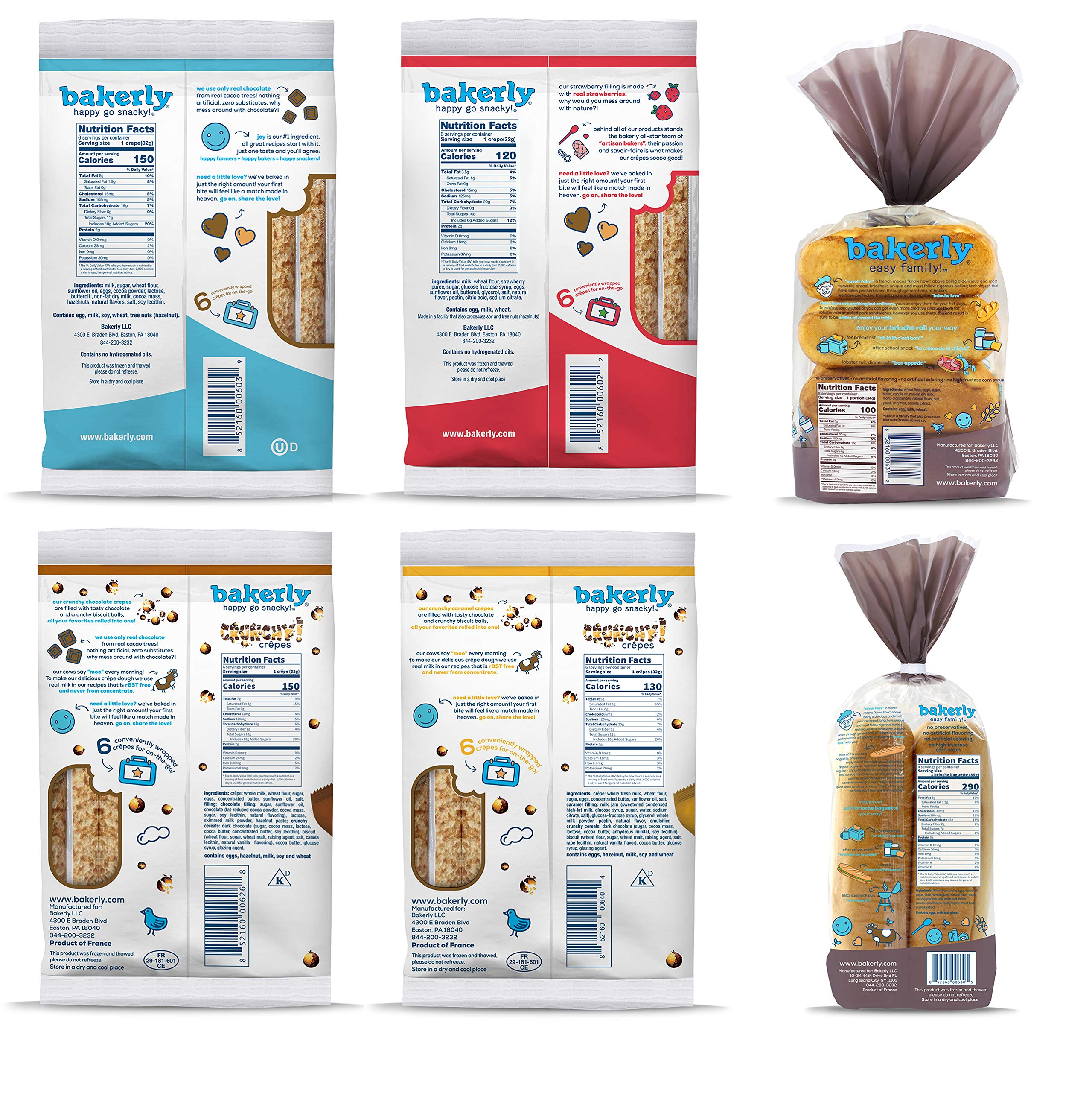 bakerly Filled Crepes & Brioches Variety Pack of 6 (24 Crepes + 4 Baguettes + 8 Brioche Rolls) by bakerly (Image #2)