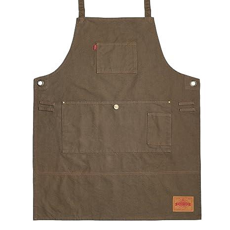 Vantoo- Delantal de trabajo lienzo resistente con bolsillos- ajustable hasta XXL para hombres y
