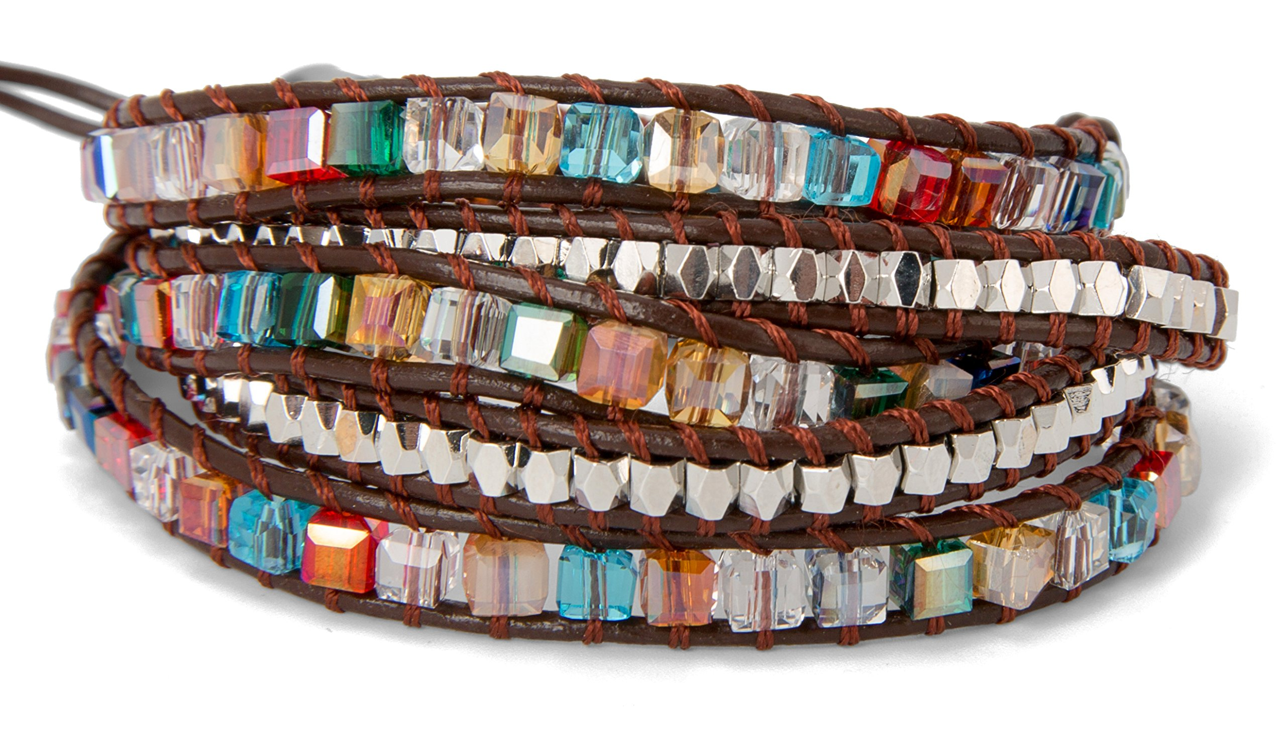 SPUNKYsoul 5 Wrap Bracelet in Colorful Crystal Glass Square Faceted and Brass Silver Toned Beads Collection